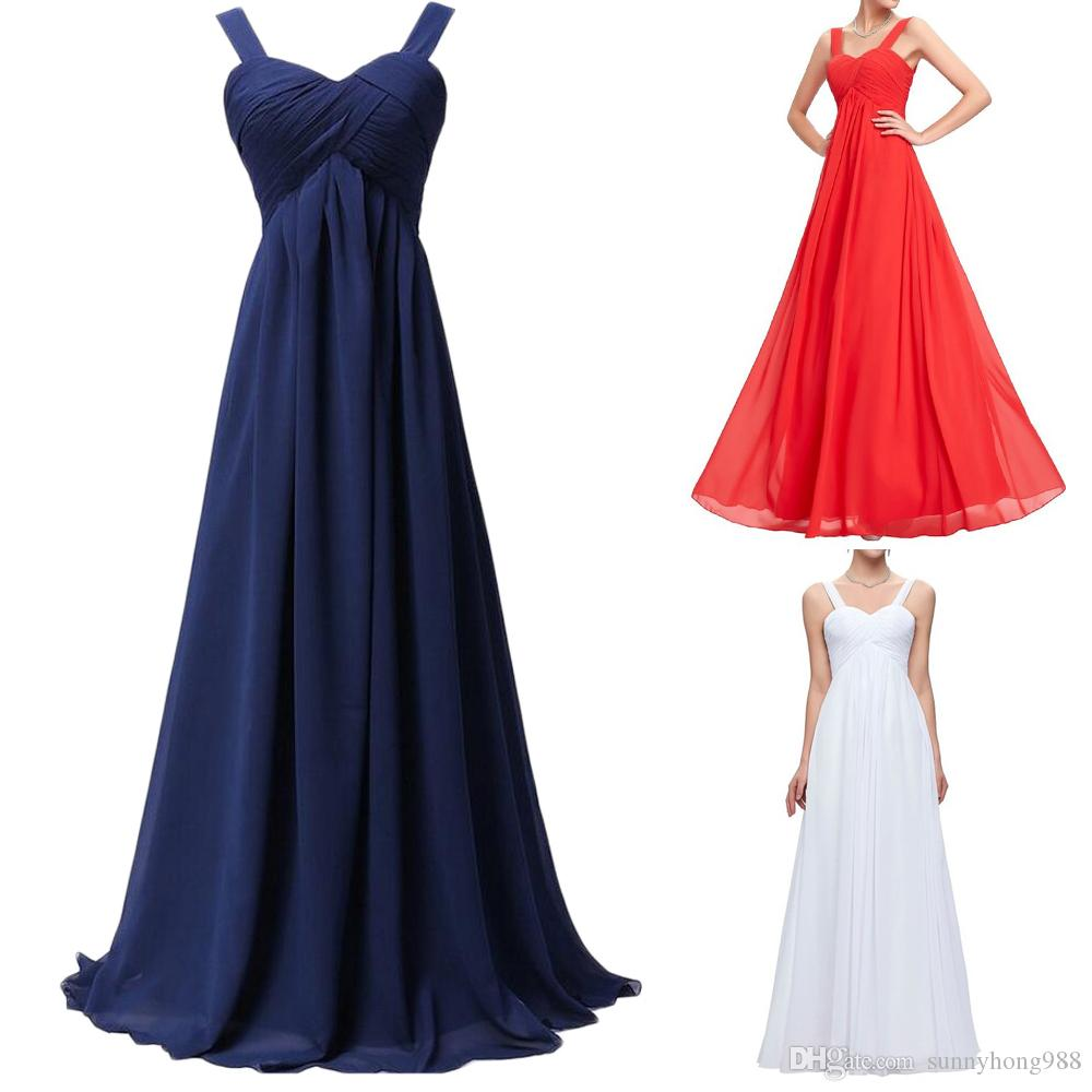 194b4dcfbe6 Navy Blue Chiffon Ruffle Long Bridesmaid Dress Spaghetti Straps Women Prom  Party Gowns Sleeveless Pageant Party Dress Fashion Prom Gowns Bridesmaid  Dresses ...