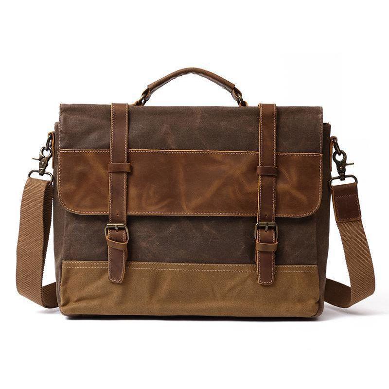 a058b036d9b4 2018 New Brand Oil Wax Canvas Business Briefcase Men Vintage Handbag ...