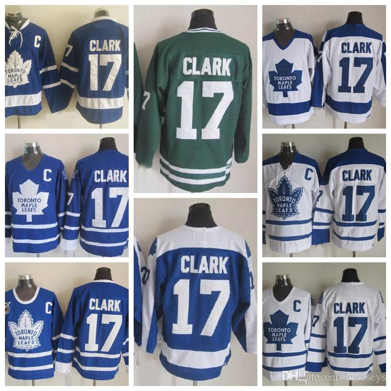 best service d3e75 8abb0 Vintage Toronto Maple Leafs 17 Wendel Clark Hockey Jerseys Vintage Classic  75th Anniversary Wendel Clark Jerseys Embroidery C Patch S-3XL