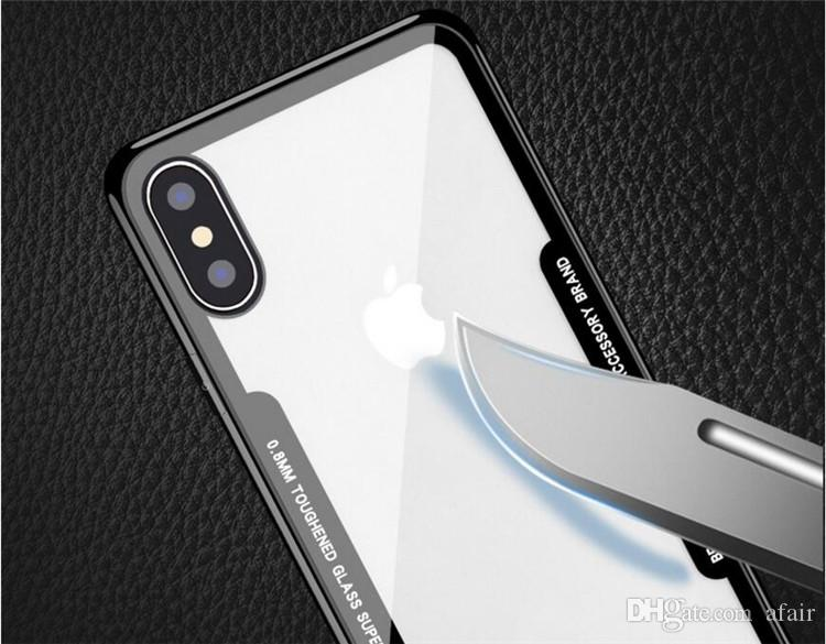 Ultra thin Imitation Glass Clear PC Cell phone Case Hybrid TPU Button Transparent Acrylic Protective Back Cover for iphone X 7 8 6 6S plus