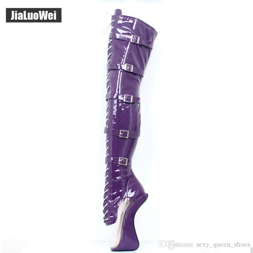 "7"" 18cm Super High Heeled Hoof Heelless Ballet Boots Transparent Toe Lace-up Zip Buckles Straps Sexy Fetish Dance Shoes Thigh High Boots"