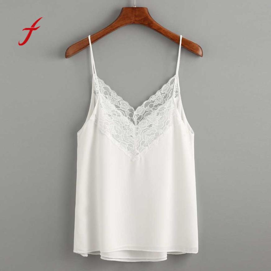 1842e7cf1f 2019 Feitong 2018 Summer Chiffon Tops Women Sexy Off Shoulder Tank Top  Backless White Lace Blouse Streetwear Ladies V Neck Camisole From Darnelly