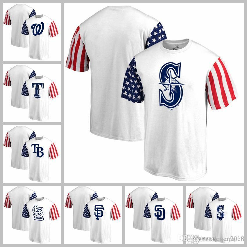 bbcda7a76 2019 San Diego Washington Nationals Texas Rangers Tampa Bay Rays St. Louis  Cardinals Seattle Mariners Fanatics Branded Stars & Stripes T Shirt From ...