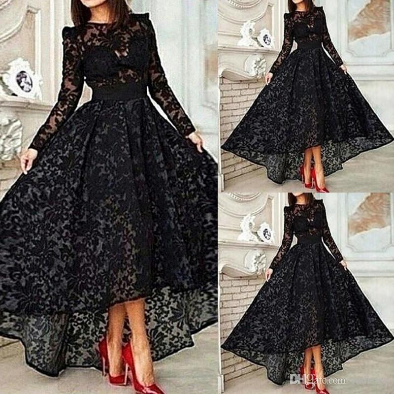 FADISTEE New Arrival Party Evening Dresses Vestido De Festa High Low Prom  Dress Lace O Neck Frock Spaghetti Sexy Muslim Long Sleeves Gown Plus Size  Short ... 87a4b17c093a