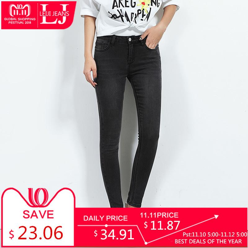ab4fea73e32 LEIJIJEANS 2018 Hot Sale Spring Plus Size Solid Color Mid Waist Full Length  Casual Skinny Women Stretch Well Cool Jeans 5616 D18111205 UK 2019 From ...