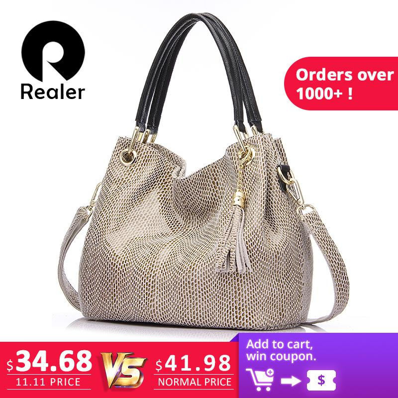 3880062b7c43d 2019 Fashion Realer Woman Handbags Genuine Leather Bag Female Hobos Shoulder  Crossbody Bags High Quality Leather Totes Women Messenger Bag Handbag  Brands ...