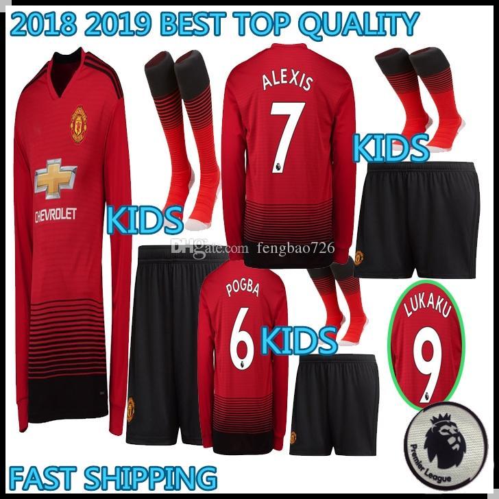 7a8fb0de7 KIDS KIT 2018 2019 Manchester Long Sleeve POGBA Soccer Jerseys 18 19 ...