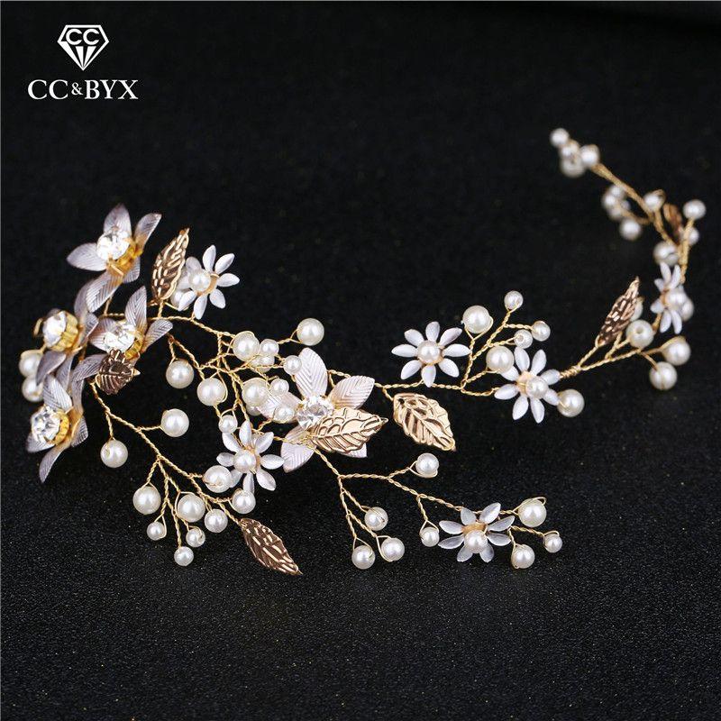 3b7ff887fd CC Wedding Jewelry Hairbands Headbands Leaf Flower Pearl Engagement Hair  Accessories For Bridal Princess Free Shipping Diy M060