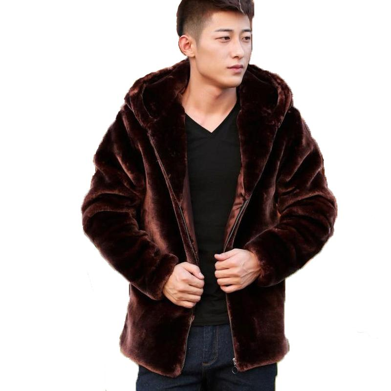 Suede Leather Jacket For Men Hooded Winter Spring Mens Faux Mink Coat Youth Motorcycle Biker Men's Faux Fur Coats Brand 2017