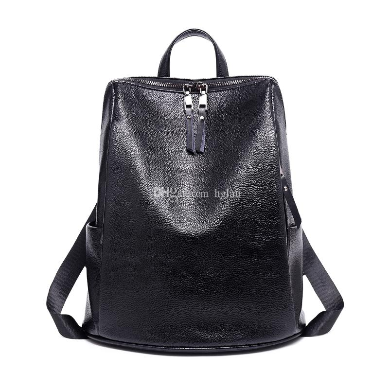Modern trend luxury black style cow leather backpacks double shoulder bag fashion all-match handbag women