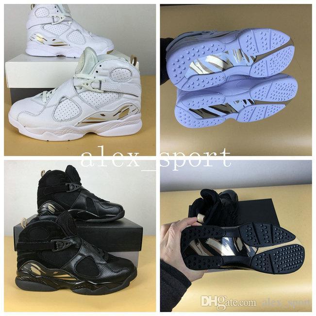 buy popular d6ad0 3336e Großhandel Mit Box 2018 Retros 8 OVO Schwarz Herren Basketball Schuhe  Original Retros 8s OVO Weiß Metallic Gold Varsity Rot Weich Sneakers 41 47  Von ...