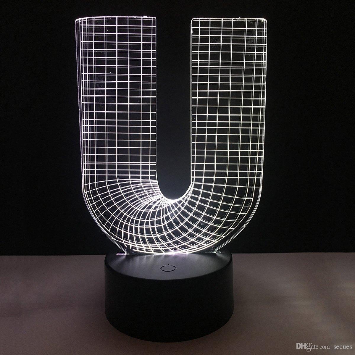 acquista la nuova lettera u di progettazione 3d illusione led della