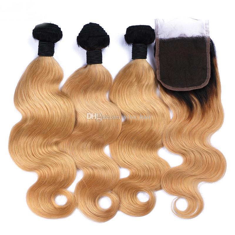 Dois 1B Tone / 27 Loiro Ombre onda do corpo Feixes de cabelo com Weave Cabelo Lace Encerramento Mel loira Ombre Humano brasileira e Encerramento