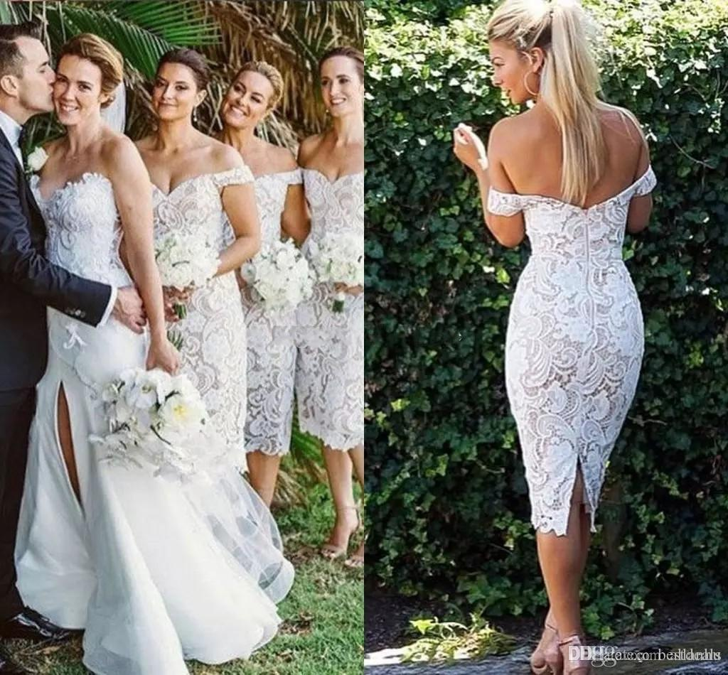 2018 New Full Lace Sheath Bridesmaid Dresses Tea Length Off Shoulder Maid Of Honor Dress Robes de fête Wedding Party Gowns Custom Cheap