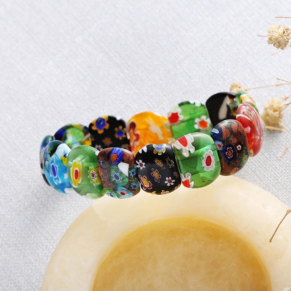 Jardme Lampwork Bracelet De Charme En Verre De Murano pour Femmes Murano Inspiration Perle Bracelet Valentine Bijoux De Mariage