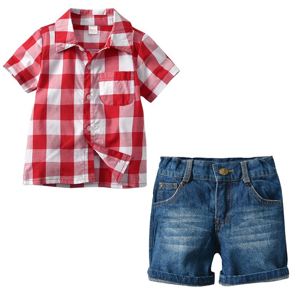 043c05d9d547 Summer Kids Streetwear New Shorts Boys Clothes Set Classic Plaid Shirt+short  Jeans Kids 2pcs Suit High Quality