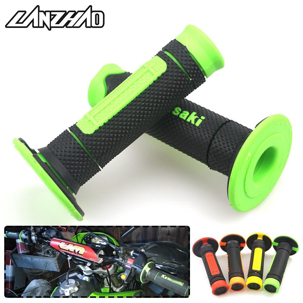 Green 7/8 22mm Motorcycle Rubber Hand Grips Handle Gel for KLX250 KLR650  KLX140 KLX110 KX65 KX85 KX100 NINJA 400 650