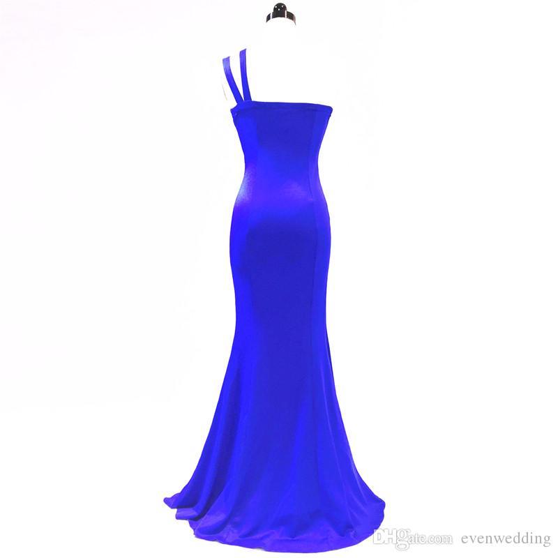 하나의 어깨 분할 이브닝 드레스 2018 인어 이브닝 드레스 층 길이 댄스 파티 드레스 새로운 긴 파티 드레스