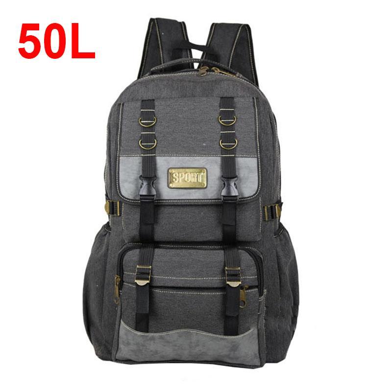 2018 50L Men Canvas Backpacks School Bags For Teenagers Boys Large Capacity  Laptop Backpack Men Backpack Outdoor Travel Bags Mens Backpacks Swiss Army  ... 00edbdaa84311