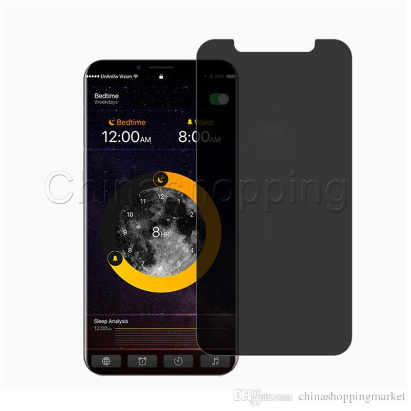 Gizlilik Temperli Cam Anti-Casus Peeping Ekran Koruyucu Için iPhone X Xr Xs Perakende Paketi ile Max 8 7 6 6 S Artı