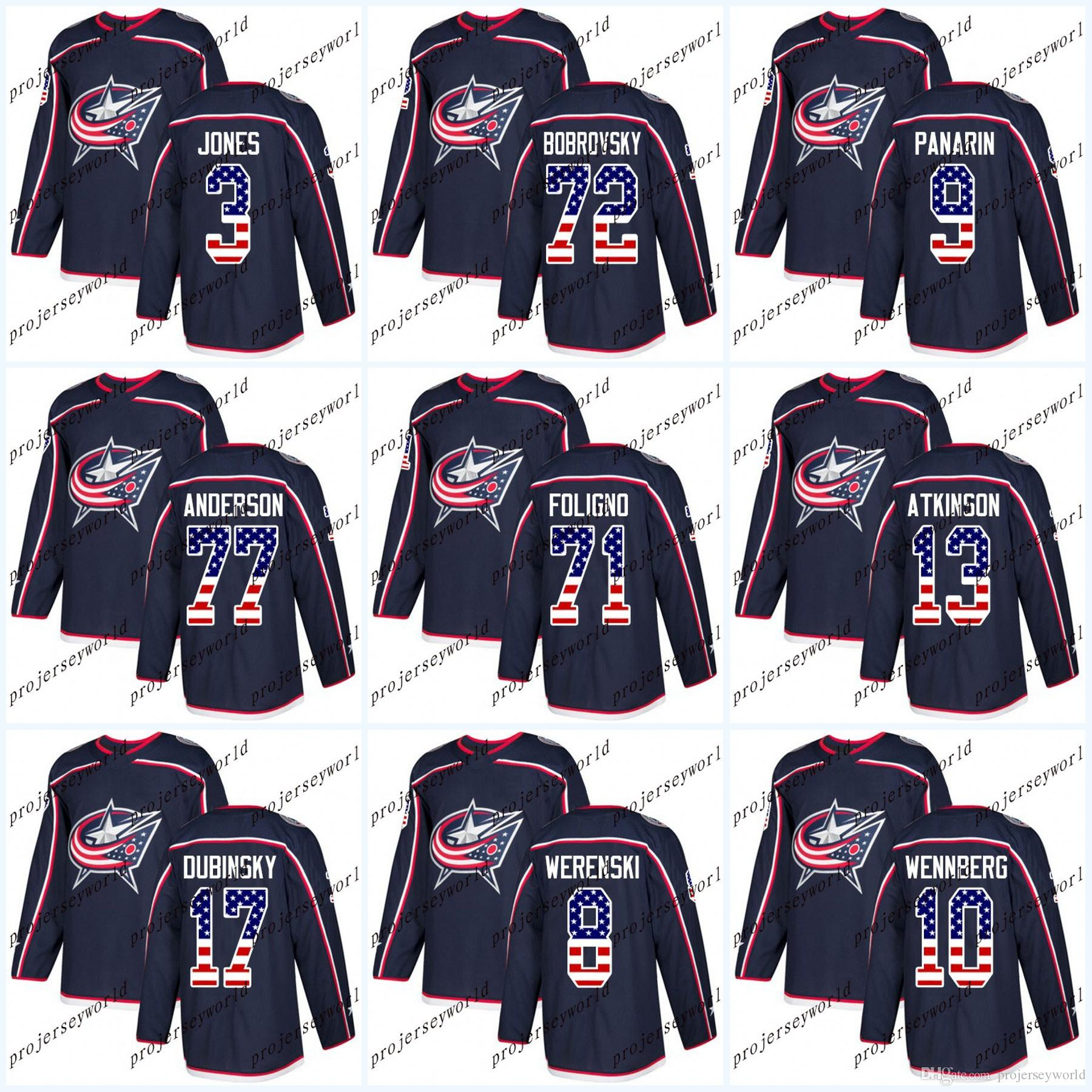 Womens USA Flag Stitched Columbus Blue Jackets Cam Atkinson Sergei  Bobrovsky Artemi Panarin Nick Foligno Seth Jones 2018 New Hockey Jersey USA  Flag Stitched ... 65cfd088f