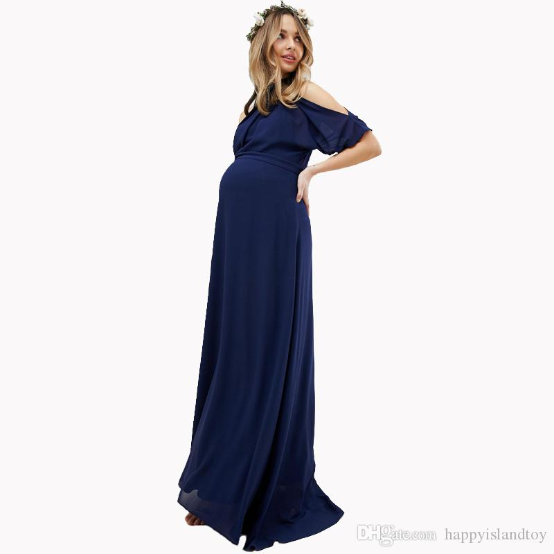 8b8d254f8 Compre Lycra Maternity Maxi Vestidos Para Mujeres Embarazadas Ropa Larga  Embarazada Vestido De Noche Del Partido Vestidos Para Oficina Trabajo Mamá  A  56.94 ...