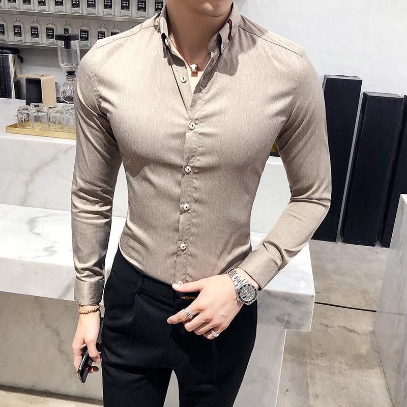 7821af195a5 High Quality Men Shirt Brand New Slim Fit Business Casual Shirts Mens Long  Sleeve All Match Blouse Homme Formal Wear Tuxedo 3XL UK 2019 From Dalivid