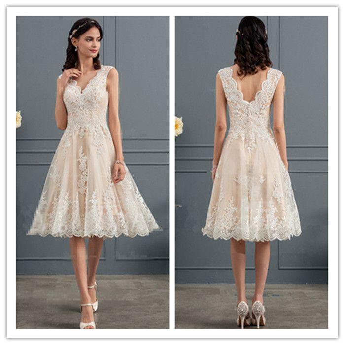 compre 2018 lindo champagne encaje corto vestidos de novia
