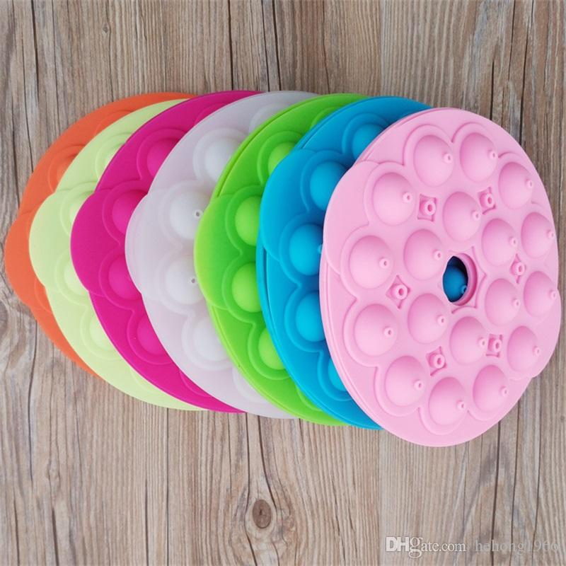 Silicone Fashion Lollipop Mould 18 Holes Cake Stick Party Cupcake Baking Mold Kitchen Ice Chocolate Maker Model 9sha Y