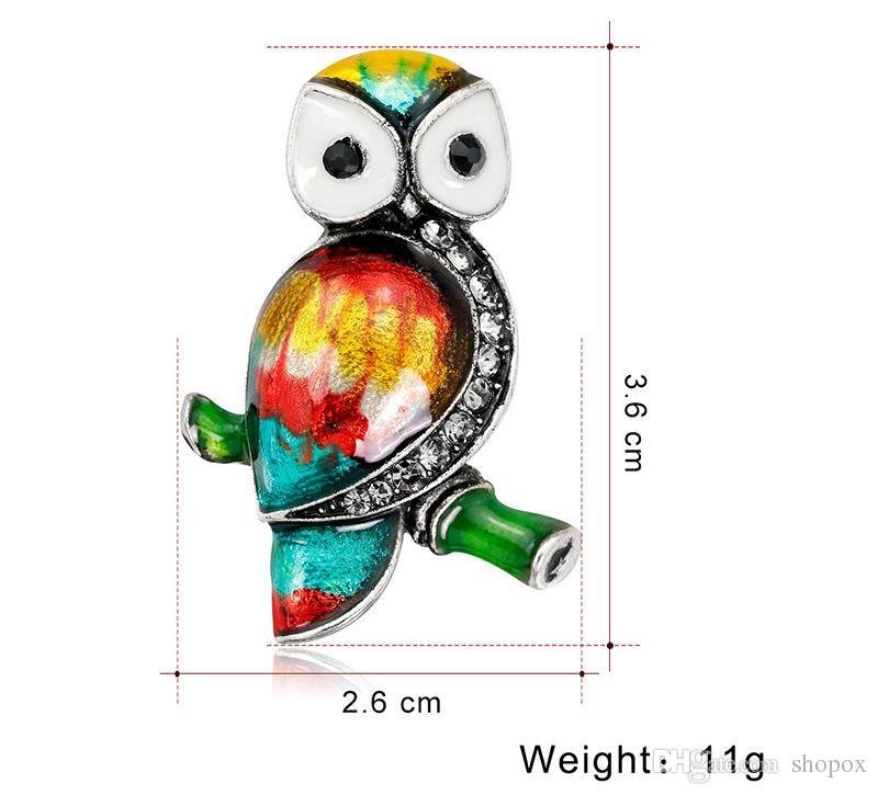 Owl Brooch Diamond Alloy Drop Oil Animal Cartoon Gem Brooch Europe United States Fashion Temperament Personality High Jewelry Clothing Women