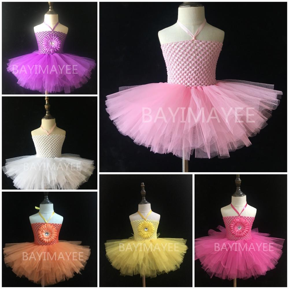 2019 Solid Color Baby 2layer Crochet Tutu Dress Girls Fluffy Tulle