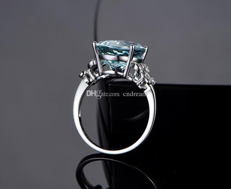 Blue Diamond Topaz anel de cristal Anéis borboleta Brida Anel de casamento moda jóias dom mulheres anéis de vontade e de areia nova