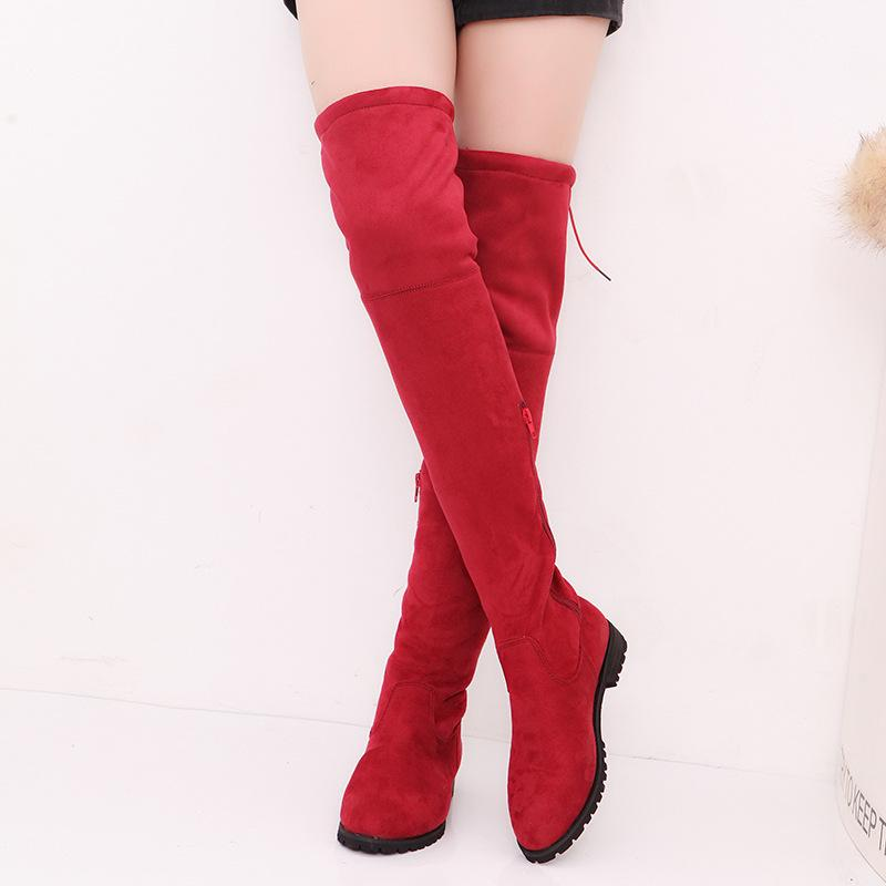 0281d24cf0a 2019 Women S Stretch Suede Thigh High Boots Sexy Fashion Over The Knee  Boots High Heels Women S Shoes Black Gray Wine Red Rubber Boots Ski Boots  From Ye1993 ...