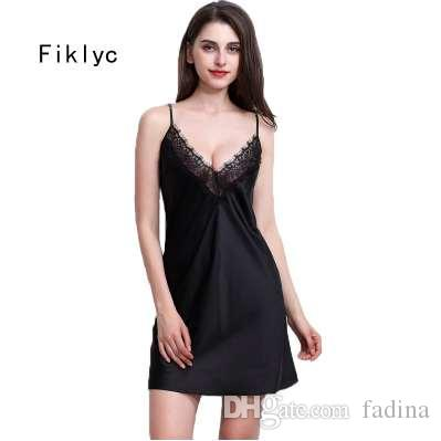 cf0986db44 Fiklyc Brand Sexy Women Nightwear Mini Nightgowns Tempatation Deep V ...