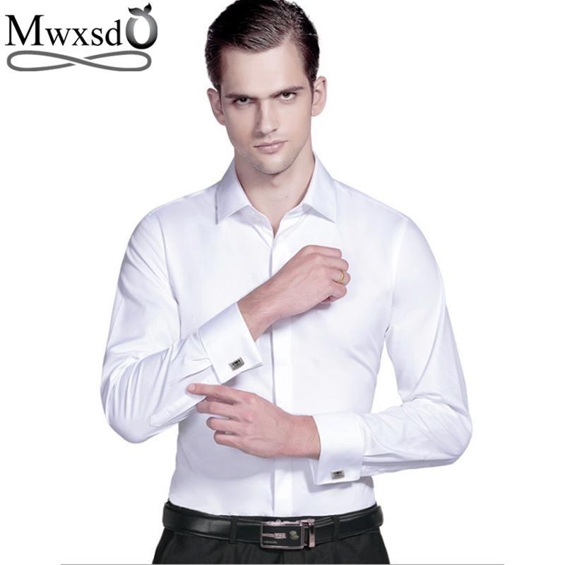 d6220168d8 Compre Mwxsd Alta Calidad Hombres Franceses Camisa De Vestir Para Hombre De  Algodón De Seda Formal De La Boda Camisa De Manga Larga Sólido Masculino  Slim ...