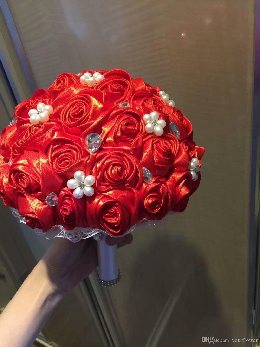 Customized High End Wedding Supplies Bridal Wedding Bouquets Red