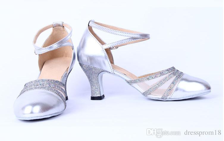 Womens Beaded Straps Latin Ballroom Dance Shoes Malla Insertar dedo del pie cerrado PU cuero Tango Dancing Heels con tobilleras