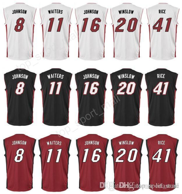 2019 2016 Printed 20 Justise Winslow Jersey Men Basketball 8 Tyler Johnson  11 Dion Waiters 16 James Johnson 41 Glen Rice Jersey Black Red White From  ... 8e0fb6e3b