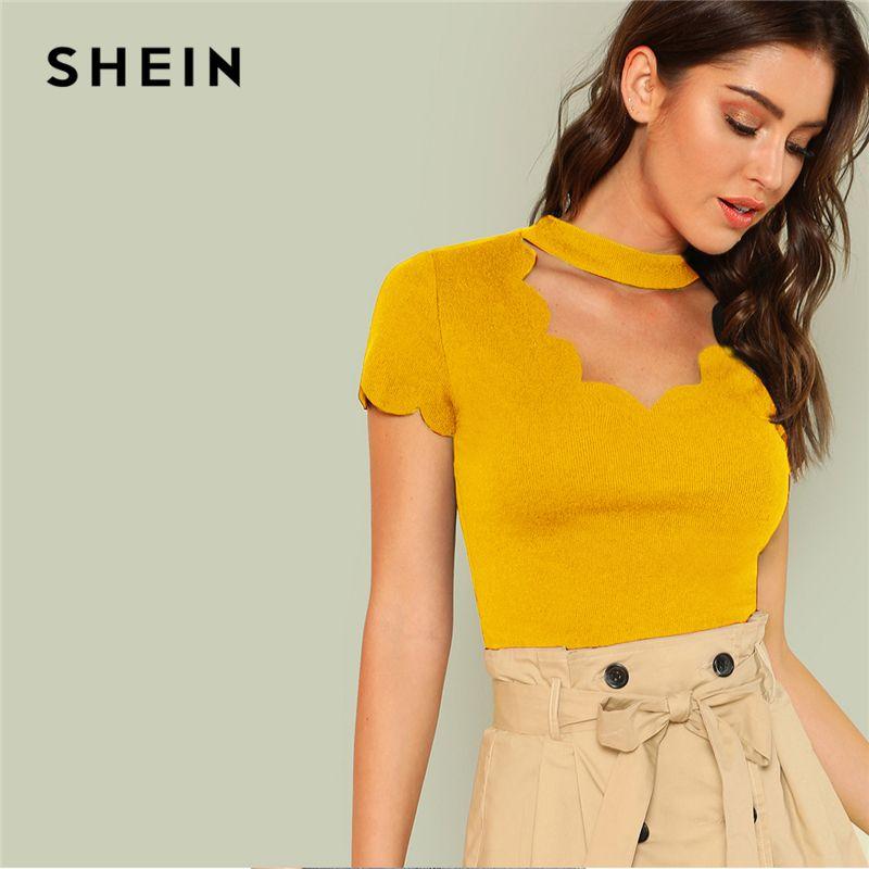 25a2f1800efca4 SHEIN Ginger Elegant Mock Neck Scallop Trim Cut Out V Collar Short Sleeve  Solid Tee Summer Women Casual Going Out T Shirt Top Shirt Online Cartoon T  Shirts ...