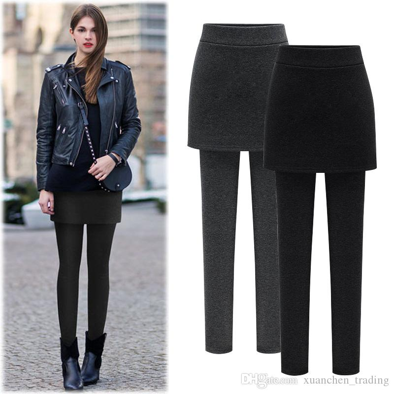 8aacfb1007275 2019 One Piece Women Fleece Skirt Leggings Girls Pants Plus Size Thick Mini  Trousers Warm Soft Elastic Leggings Skinny Boot Pants Casual Wear From ...