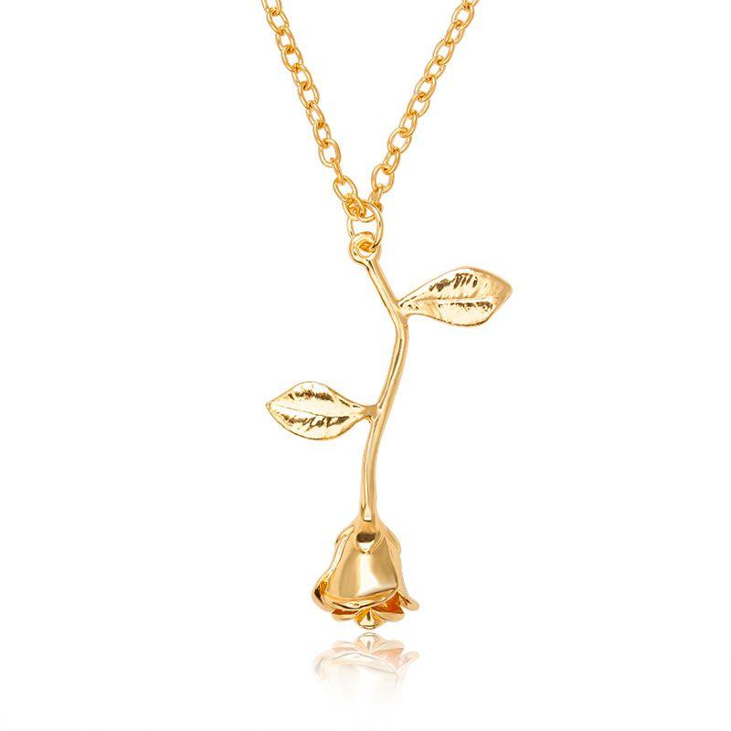 Modeschmuck Anhänger Rose Blume Gold Silber Ketten Halsketten Romantische Valentinstag Geschenke