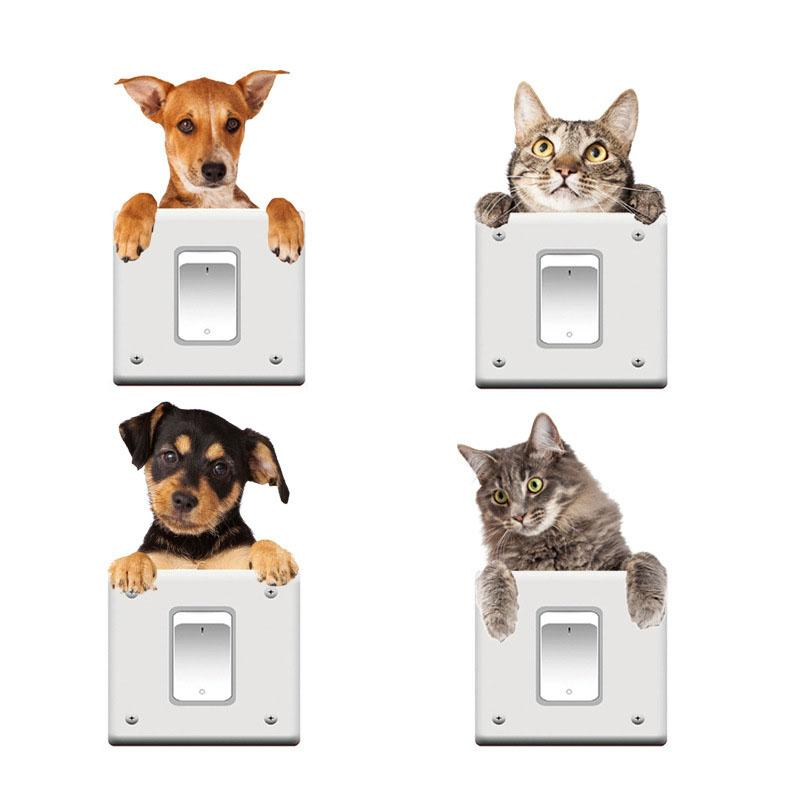 cute cat dog wall sticker cat switch sticker wall home decor for