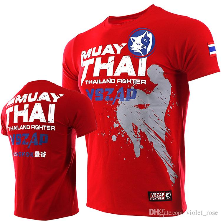 4339d2b68 VSZAP MUAY THAI Fighting Thai Boxing MMA Sports Broadcast Short Sleeve T  Shirt Fitness Fighting Martial Arts Men One Day T Shirt Best Site For T  Shirts From ...