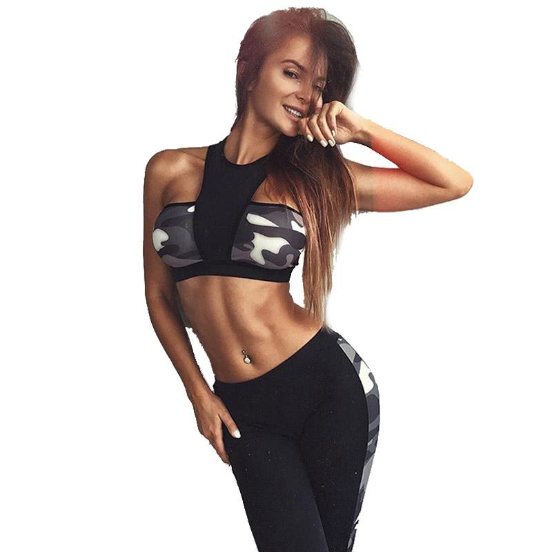 077b4ffed66c5f 2019 Women Clothing Workout Outfits Black Camo Patchwork Sexy Crop Tops  Sports Bra Long Pants Gym Fitness Yoga Set 351138 From Masn