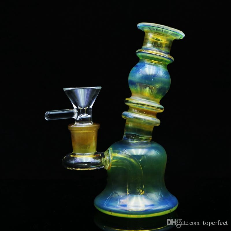Mini Bubbler Pipe Glass Bong Dab with Glass Bowl 5 Oil Rig Bongs Colorful  Mini Bong Water Pipe Heady Bongs Rigs Somking Pipes