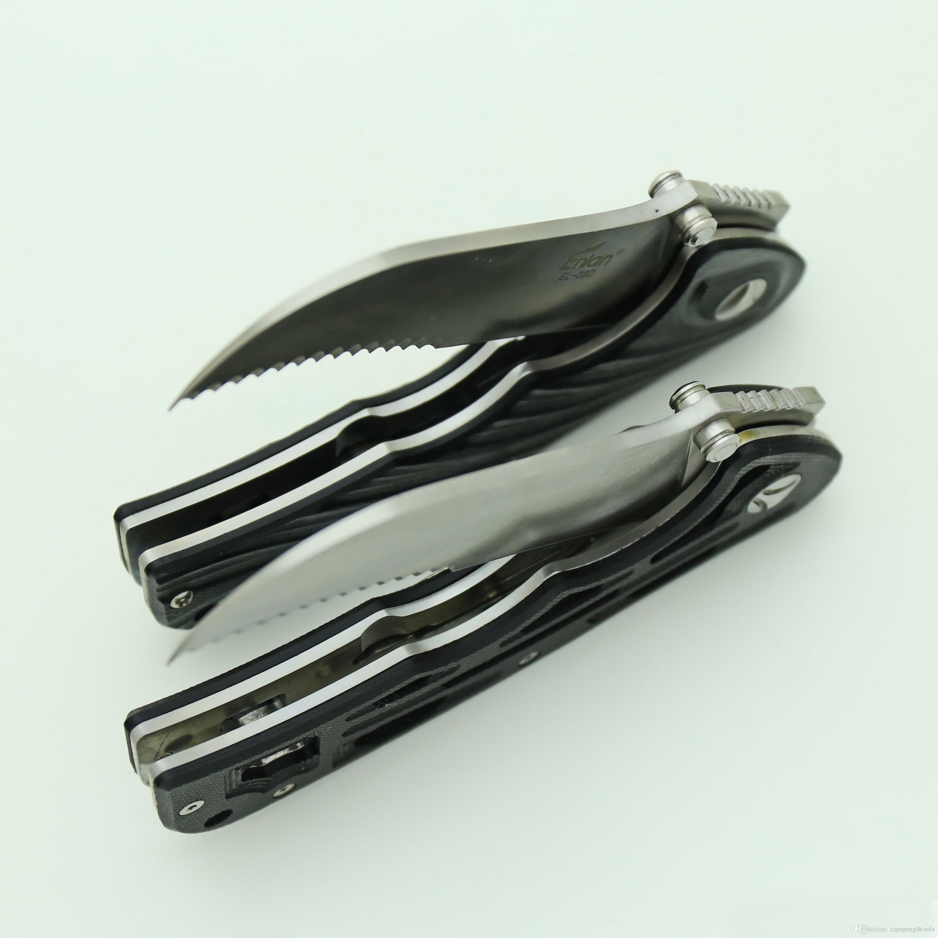 EL03 Sawtooth Folding Knife 8Cr13Mov Blade G10 Handle Outdoor Sports camping Hiking hunting Tactical Combat gift knives pocket EDC Tools