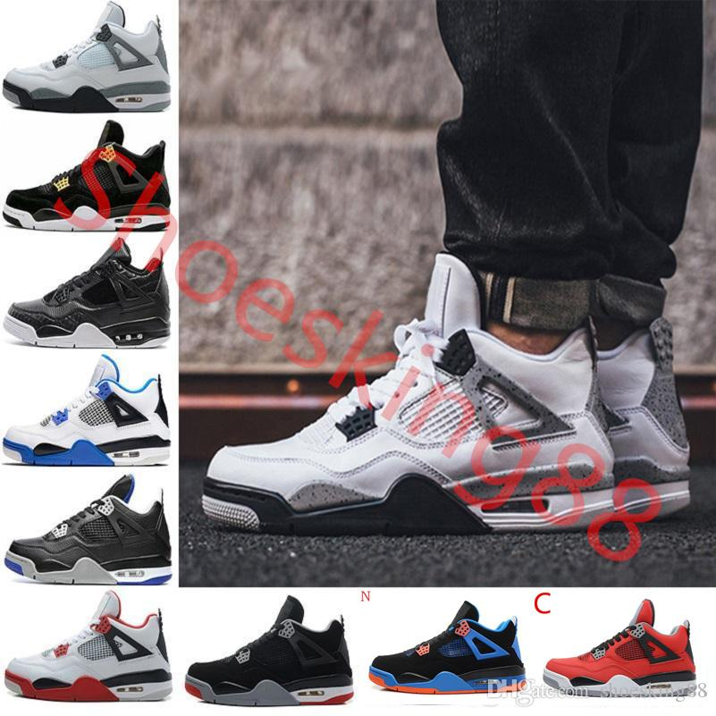 23a921059bb 2018 New 4 4s Basketball Shoes Man 4s Pure Money Royalty White Cement  Premium Black Bred Fire Red Mens Sports Sneakers Size 8 13 Sports Shoes For  Women Low ...
