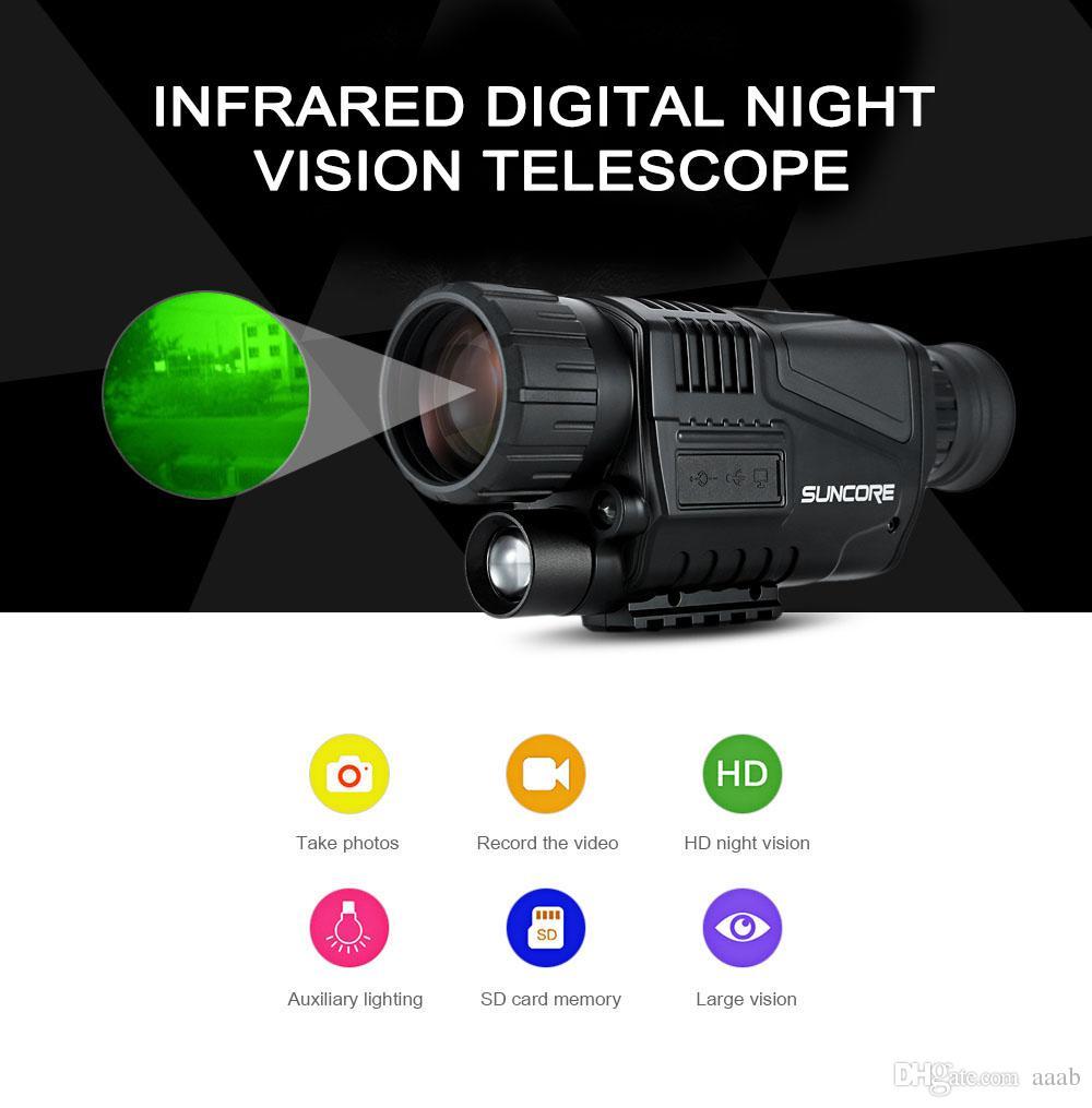 4419e6d3b2d80 Compre SUNCORE 5 X 40 Infravermelho Digital Night Vision Telescope Alta  Ampliação Com Função De Saída De Vídeo De Caça Monocular 200 M De Aaab