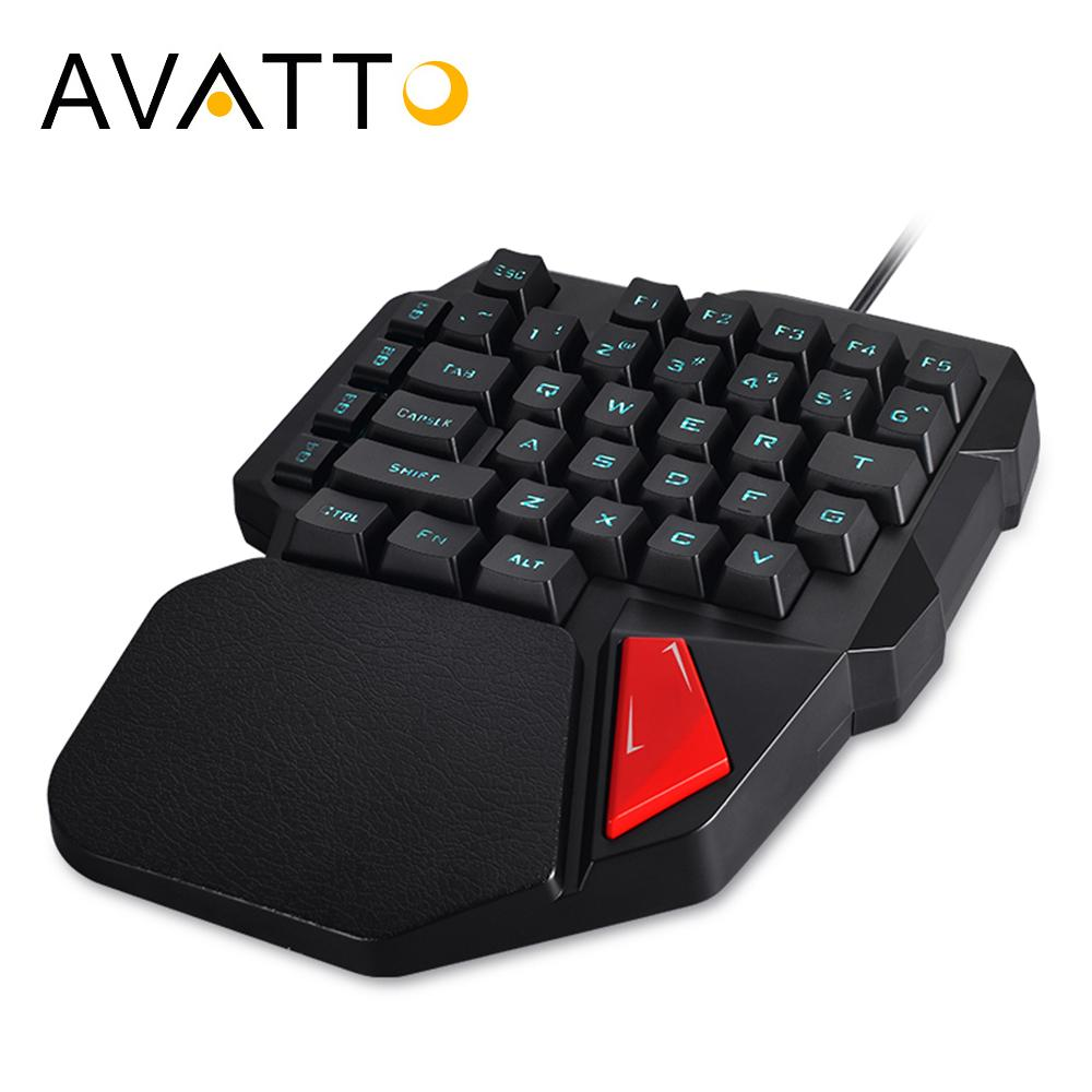 avatto professional single hand wired gaming keyboard with backlit touchpad 38 keys ergonomic. Black Bedroom Furniture Sets. Home Design Ideas