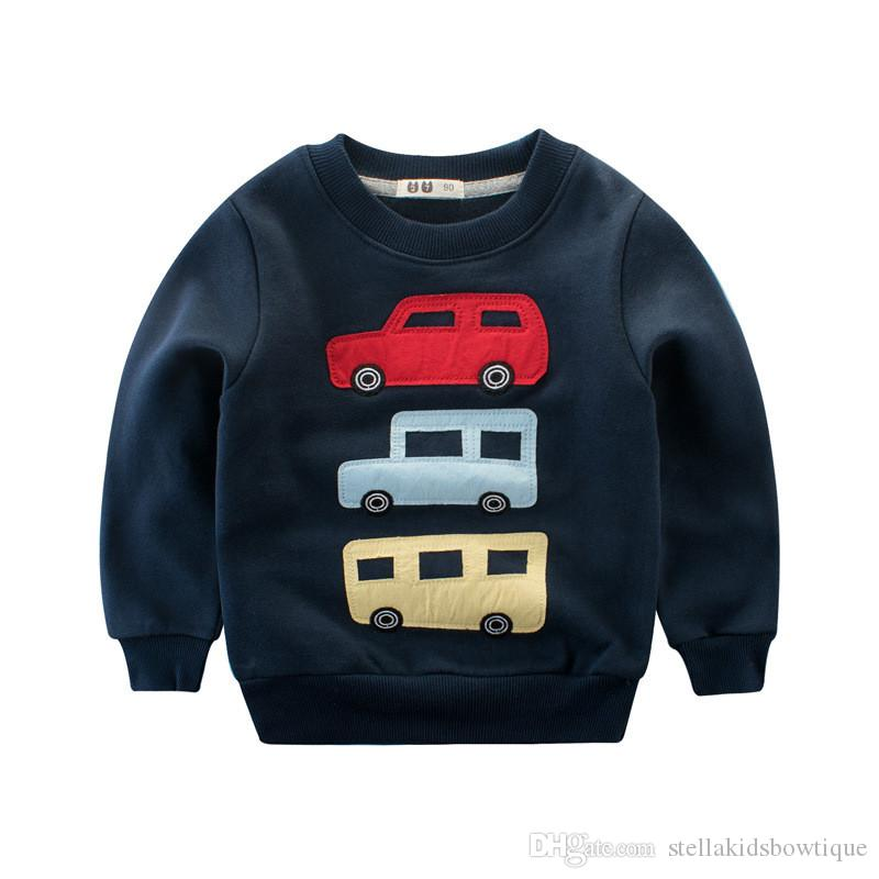Fashion Design Boy Clothes Soft Cotton Long Sleeve Autumn Car Print Baby Boy T-Shirt Fashion Round Collar Kids Top